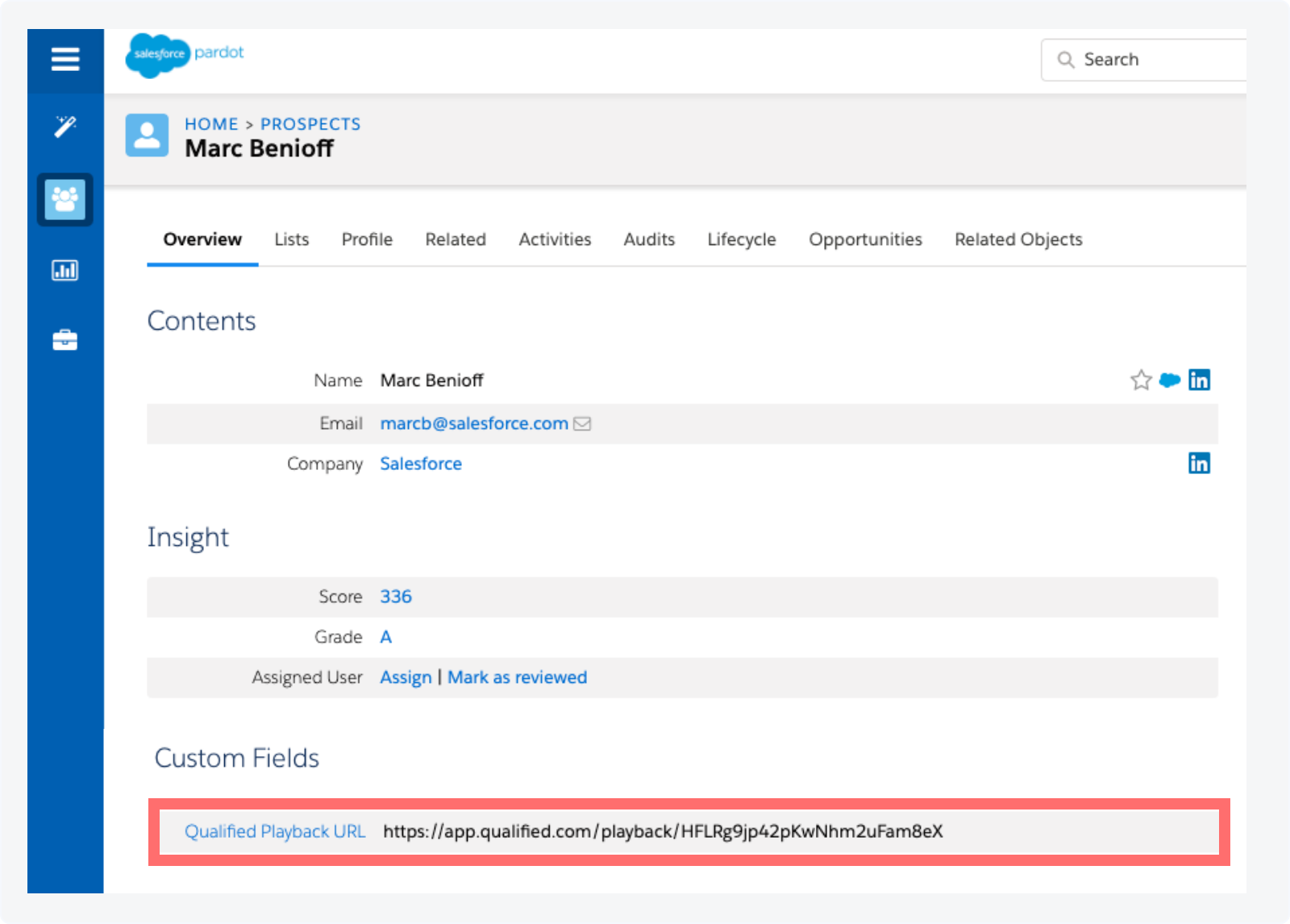 The Qualified playback URL added as a custom field in Pardot