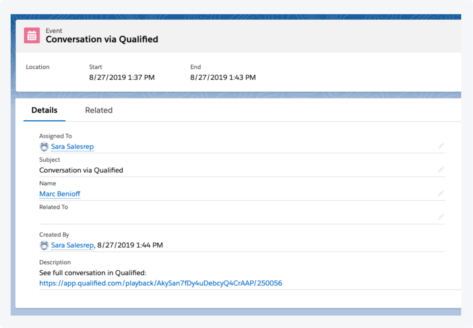 Playback URLs are automatically stored on Activity records in Salesforce