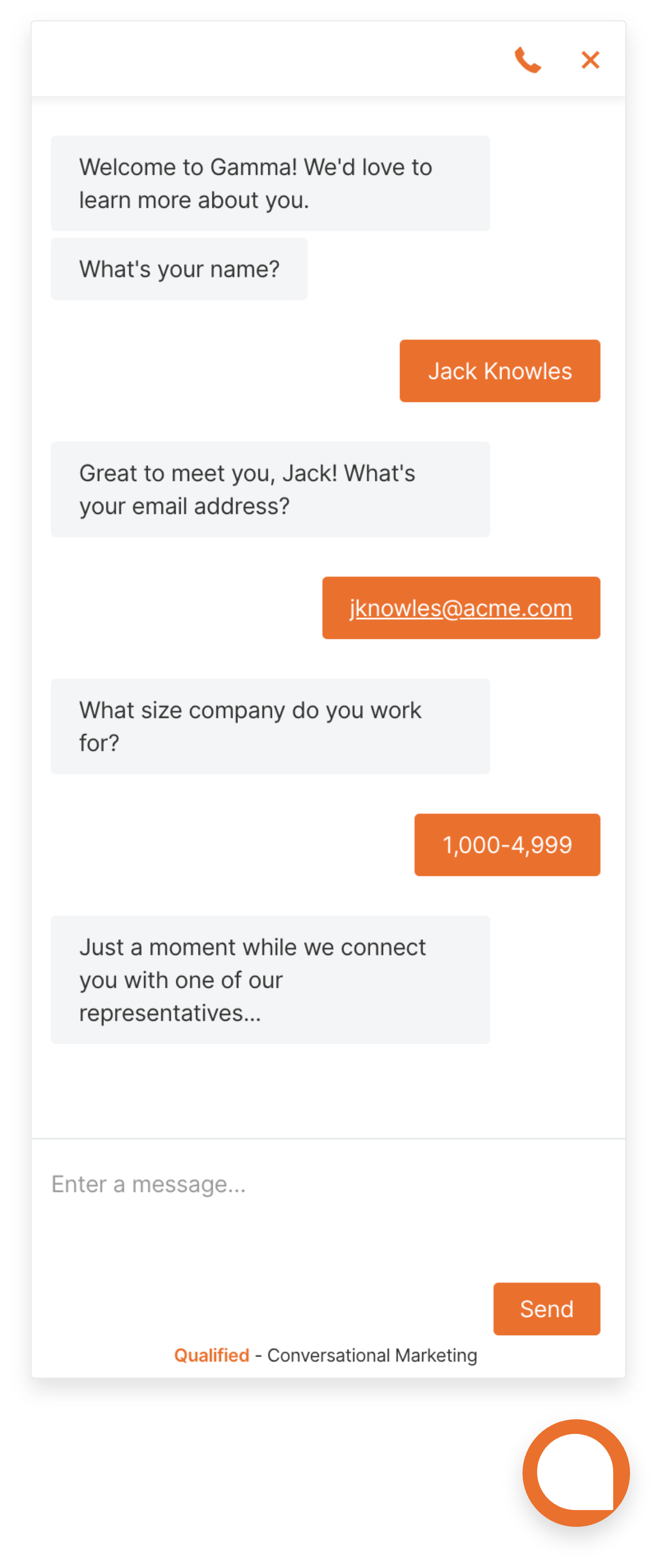 Gamma uses Chatbots to capture leads and qualify leads on their website