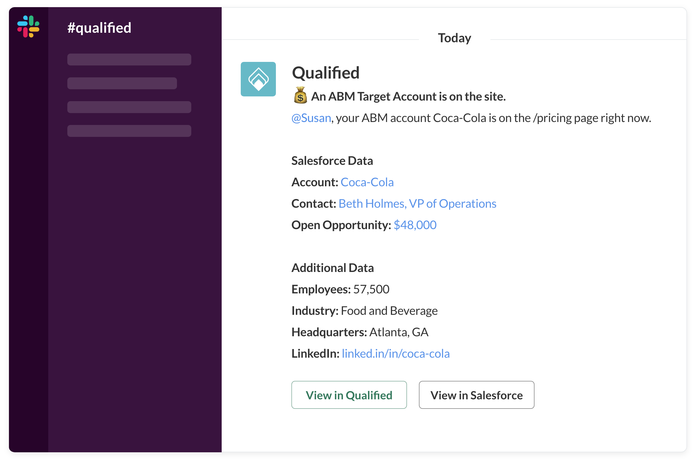 Send real-time alerts with Qualified's Slack Integration