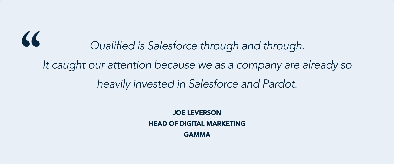 Qualified + Salesforce + Pardot = a stellar combination for Gamma