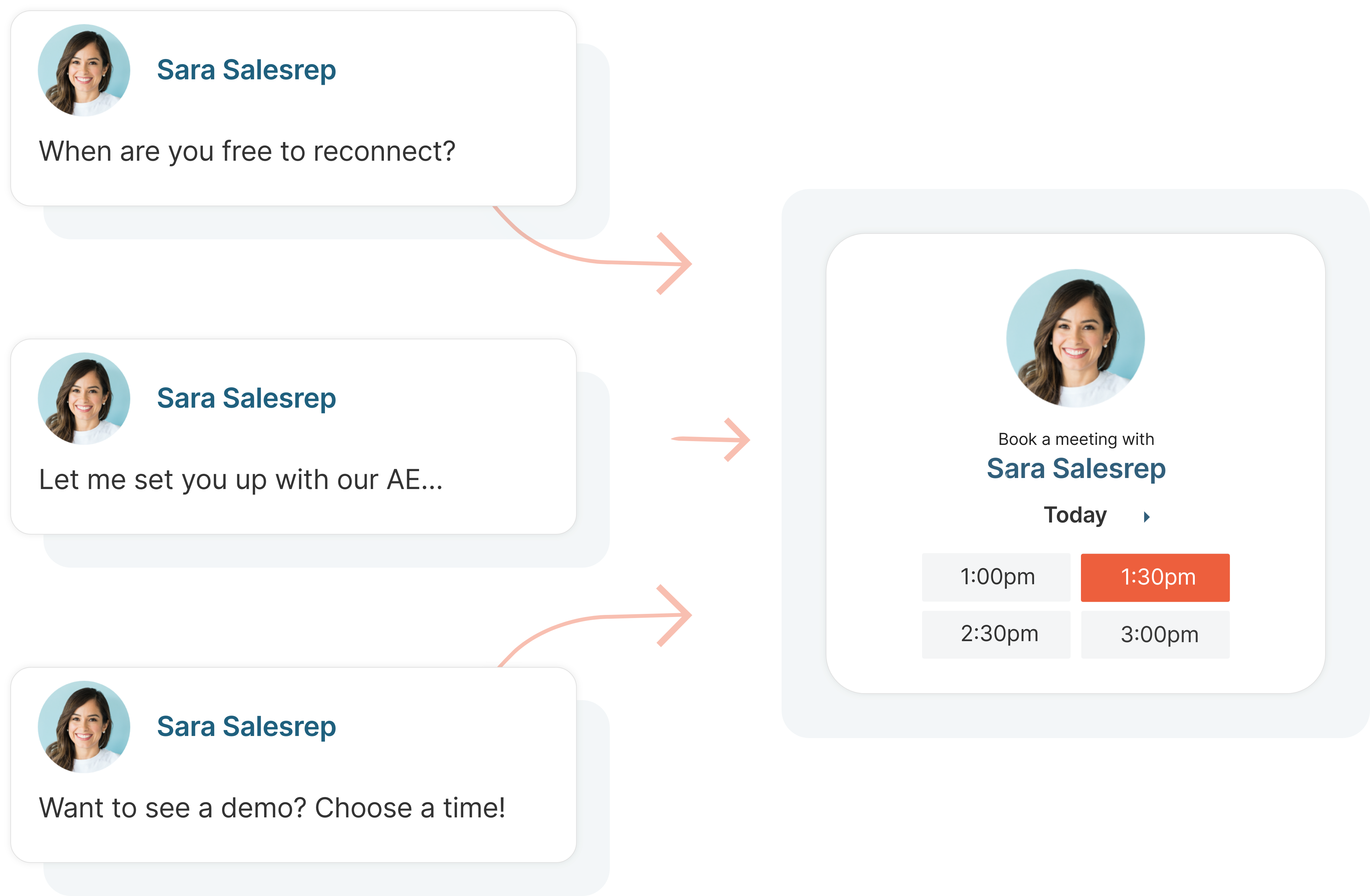 Meeting bookers help you lock in a next step at the end of every conversation