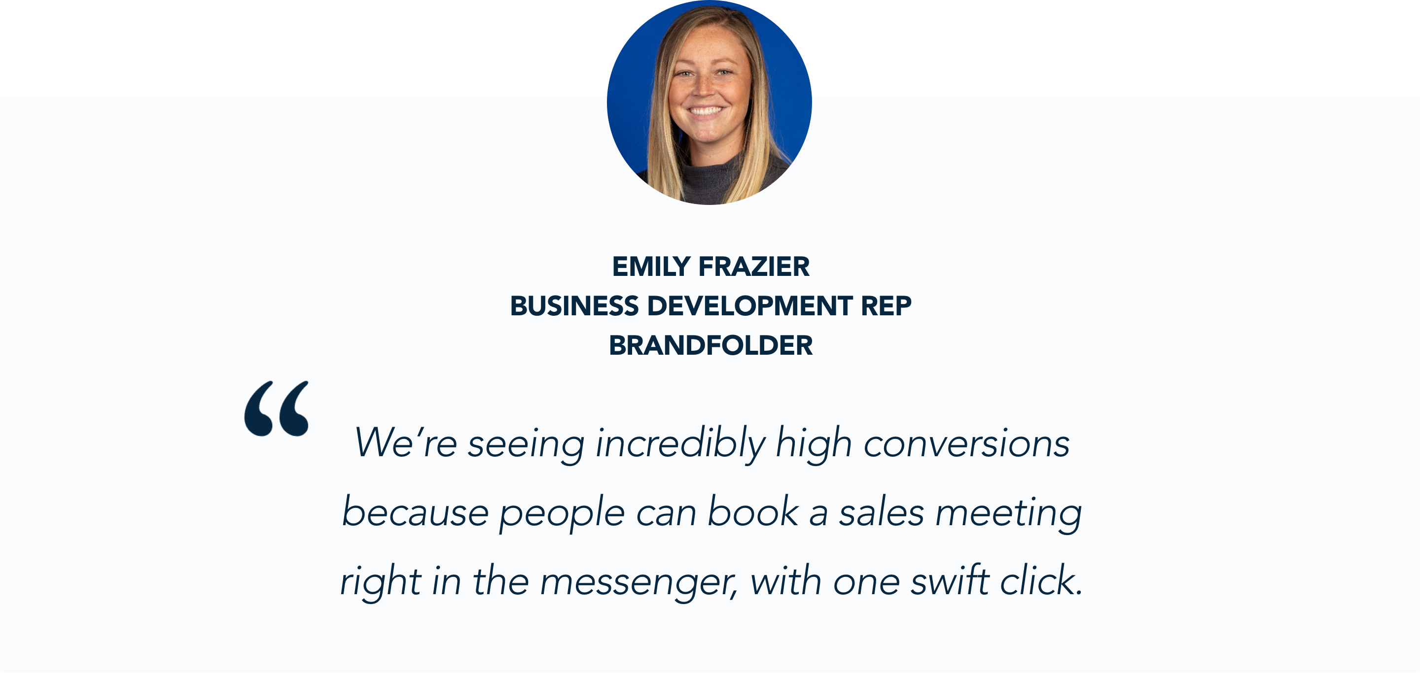 Brandfolder sales reps love the meeting booker functionality
