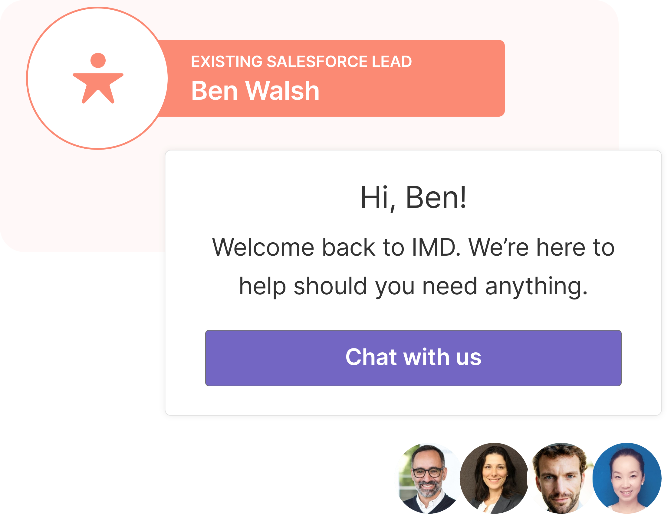 IMD automatically invites known Salesforce leads and contacts to meet with their sales team