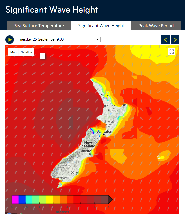 Screen shot from MetService website showing Significant Wave Height. Arrows show direction of wind.
