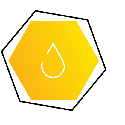Branding Services Icon of paint drop in Hexagon