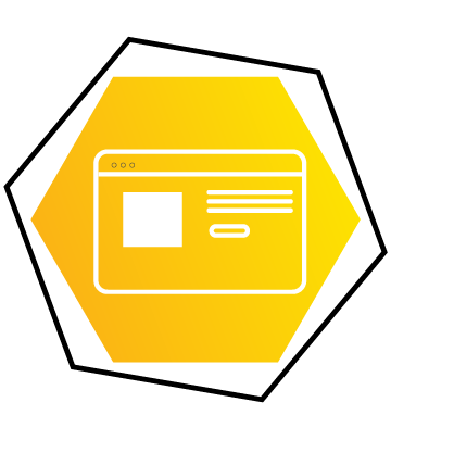 Web Design Services Icon of website in Hexagon