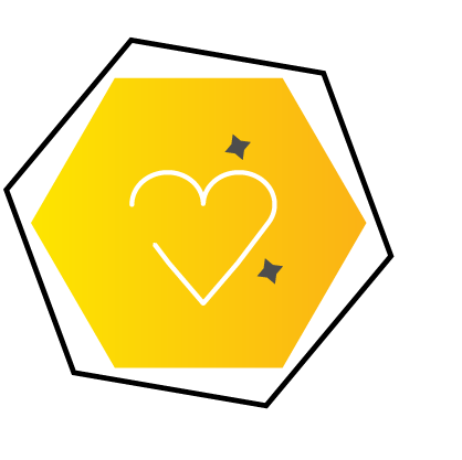 Automation Services Icon of heart in Hexagon
