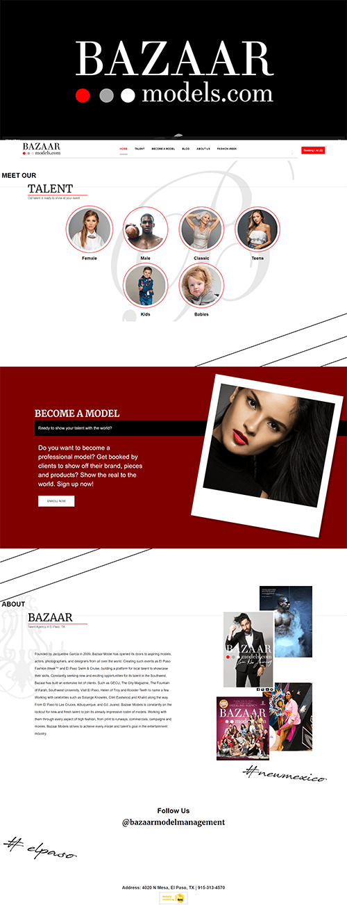 Portfolio Image of Service Modeling Talent Agency Web Design