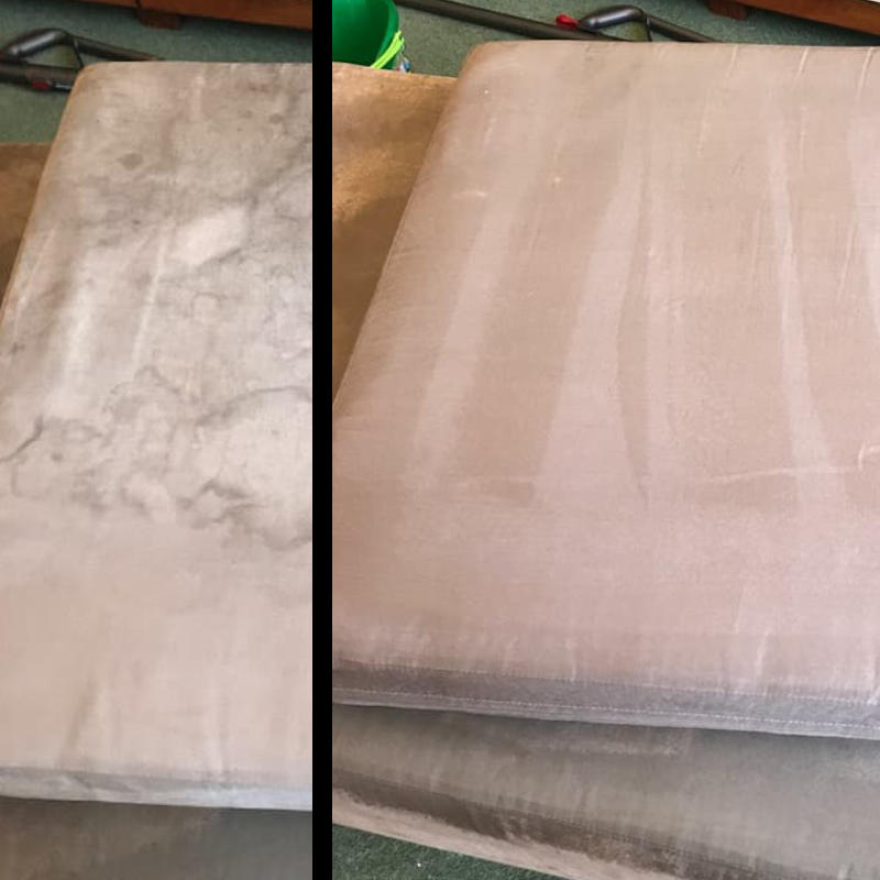 Before and after of a cleaned couch cushion