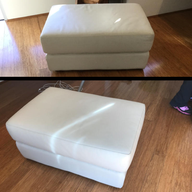 Before and after of a sofa cleaned