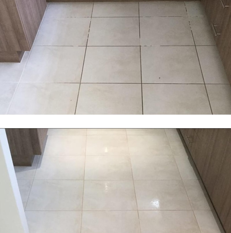 Before and after of tiles cleaned