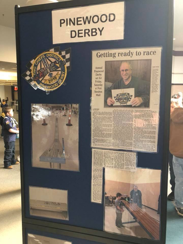 Pinewood Derby news paper display board