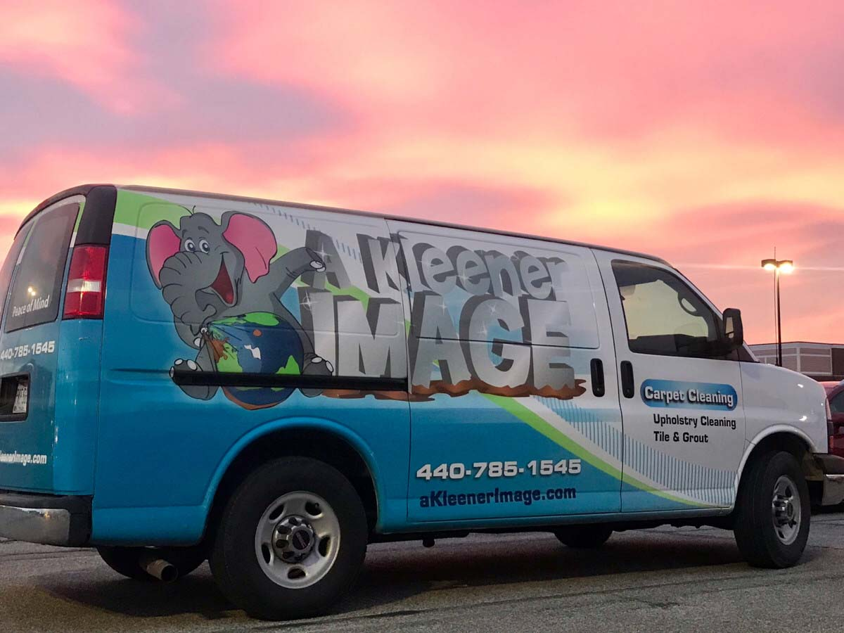 A Kleener Image van in front of sunset