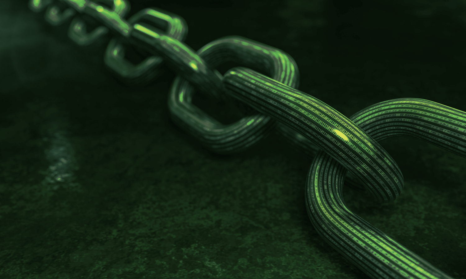 A green background of a digital chain.