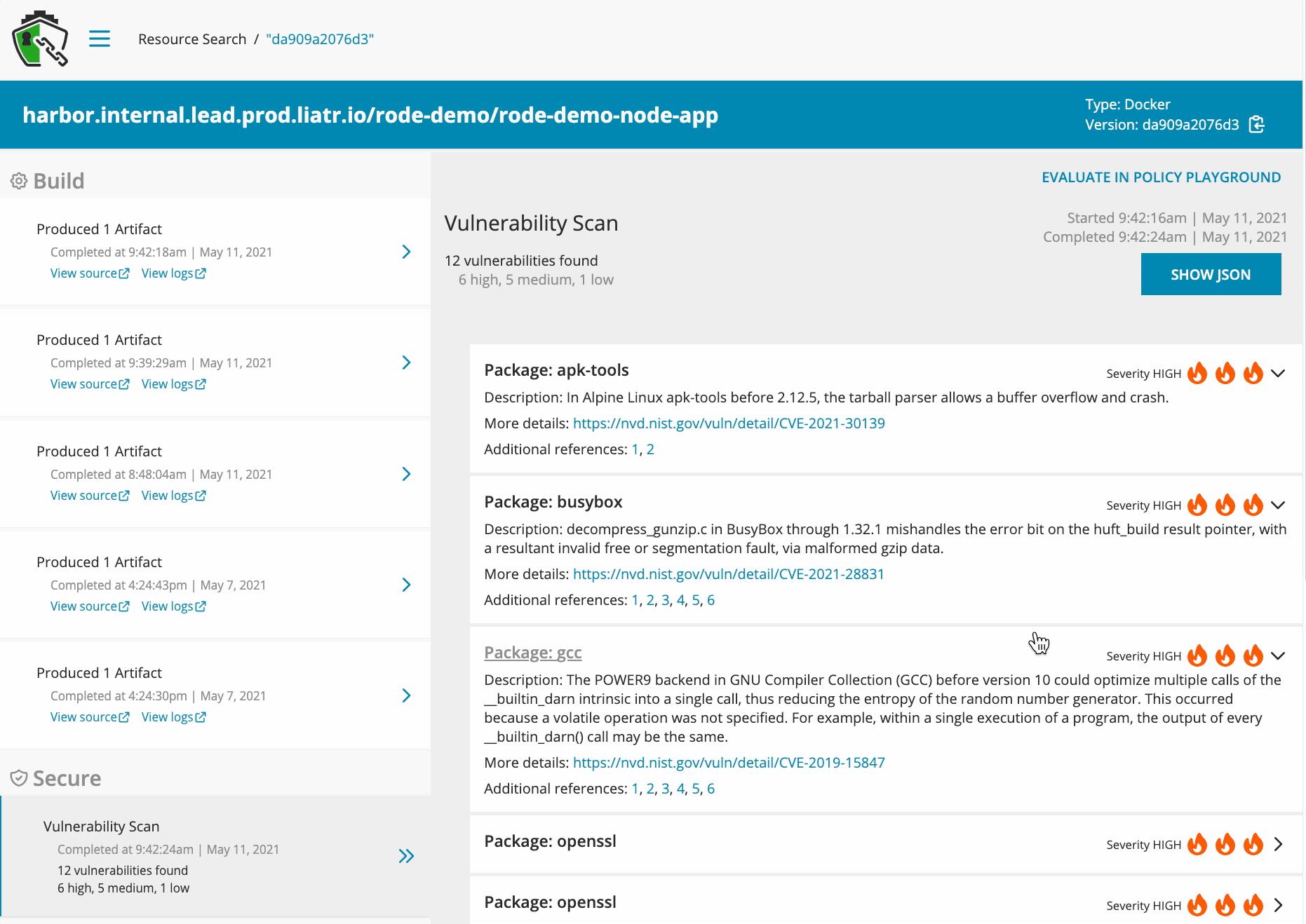 A screenshot of Rode demonstrating metadata collection.