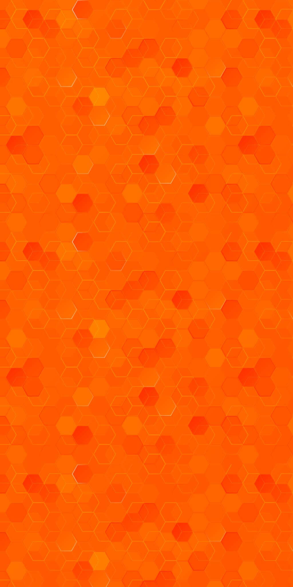 A red-orange hexagon-patterned background.