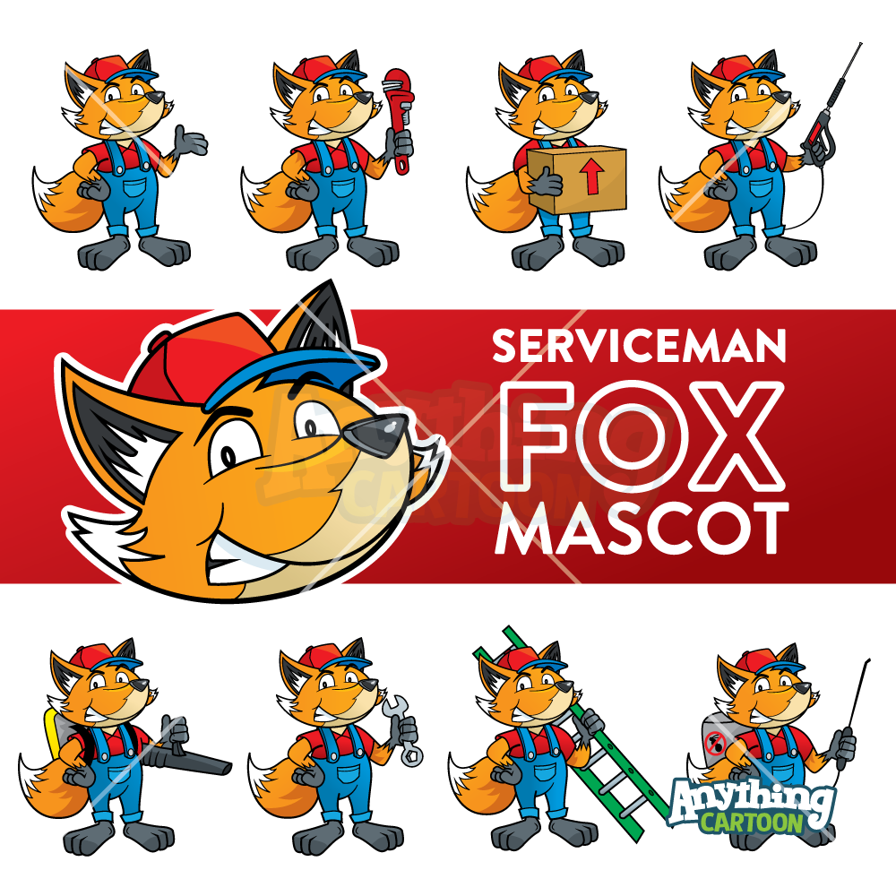Cartoon Fox Serviceman Mascot