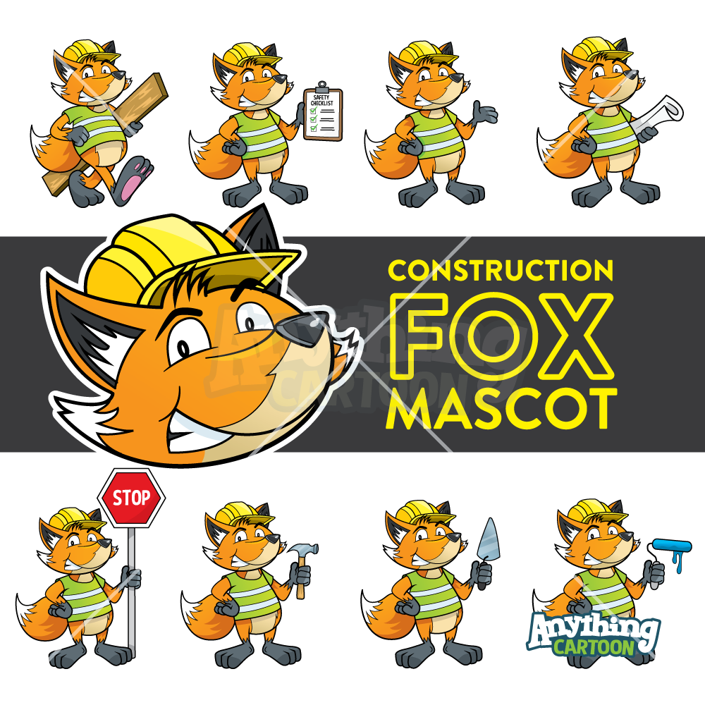 Cartoon Fox Construction Clipart