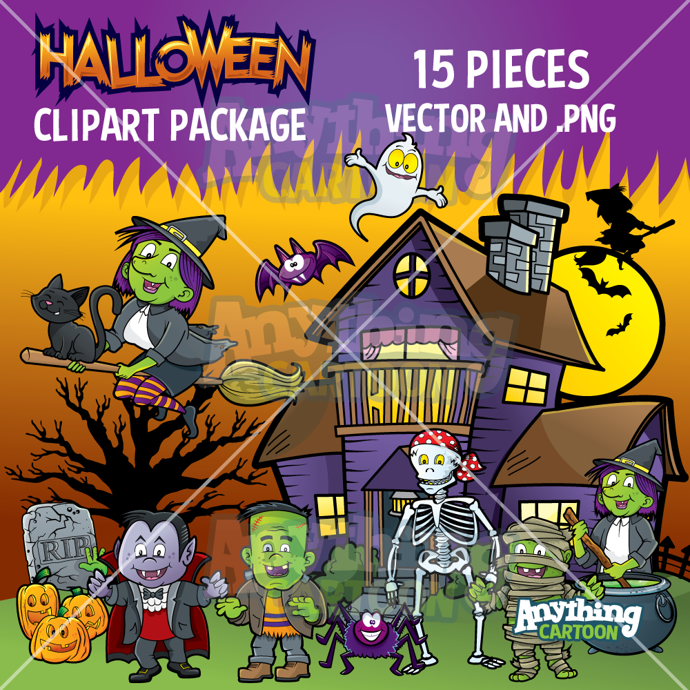 Halloween Cartoon Clipart Package