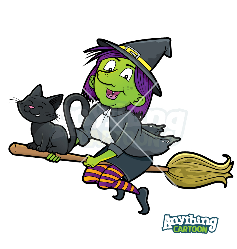 Cartoon Witch On Broom Clipart