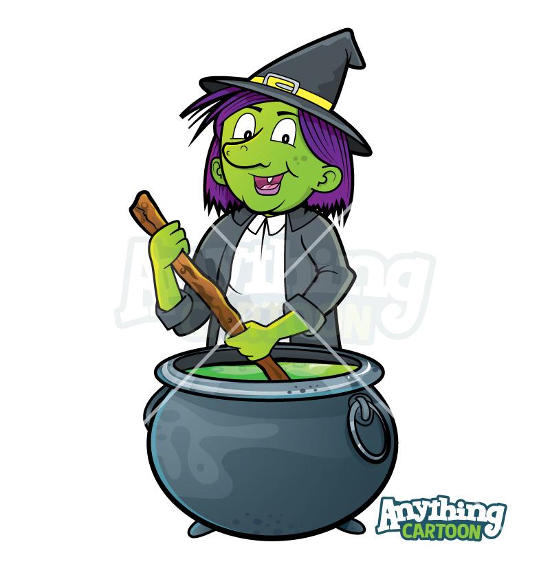 Cartoon Witch And Cauldron Clipart Halloween