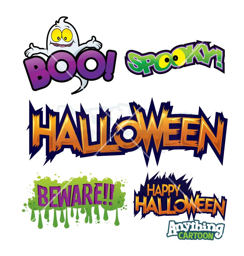 Cartoon Halloween Text Clipart