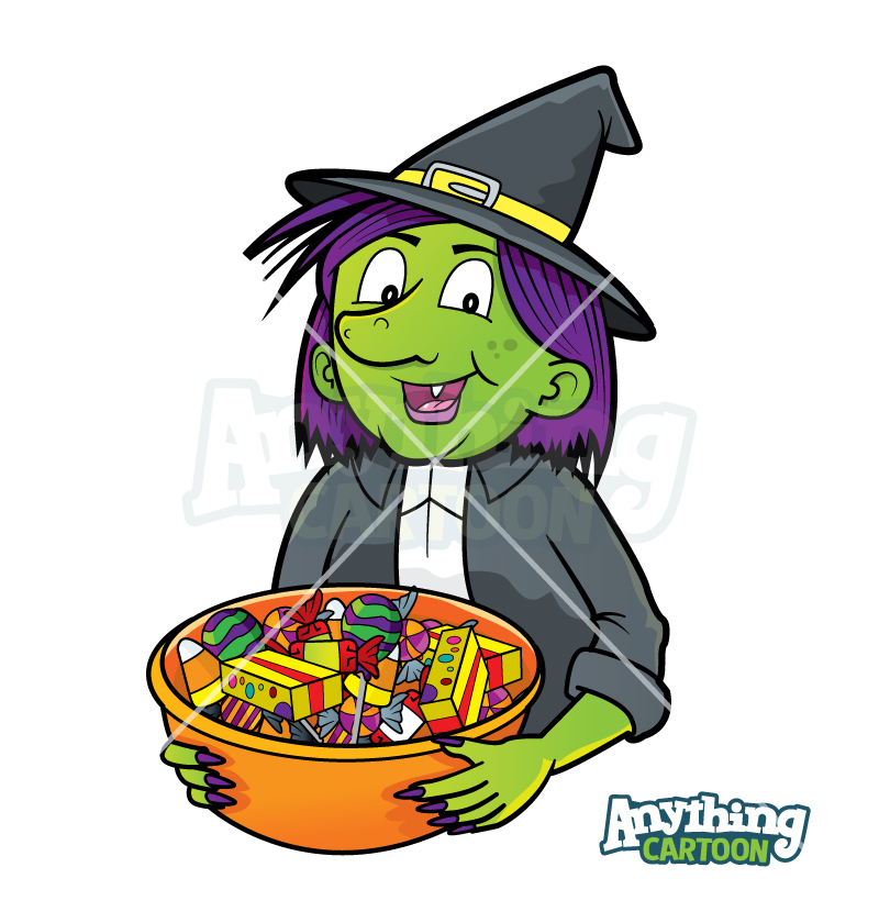 Cartoon Witch With Candy Bowl-Clipart
