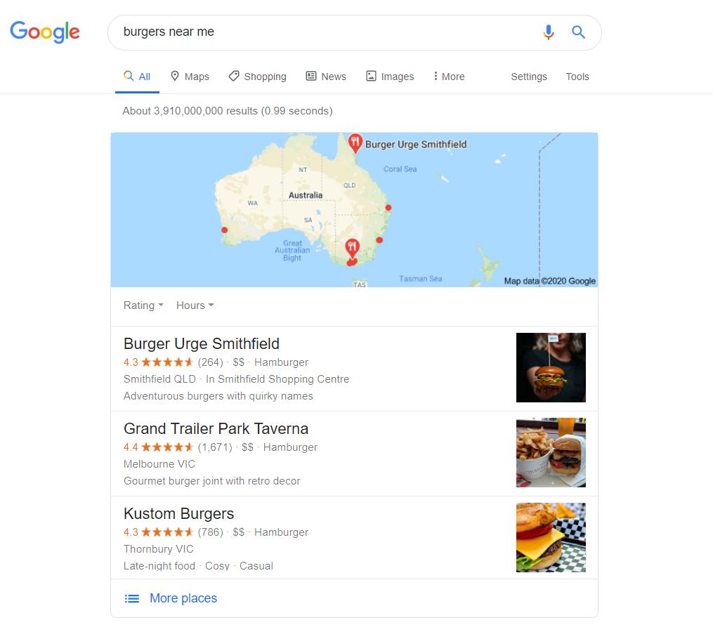 Example: burgers near me