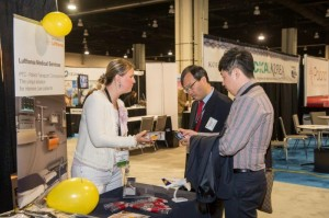 Stefanie del Signore, manger of Lufthansa's leisure, medical and health division, networks with potential customers at last year's World Medical Tourism & Global Healthcare Congress, in Washington, D.C.