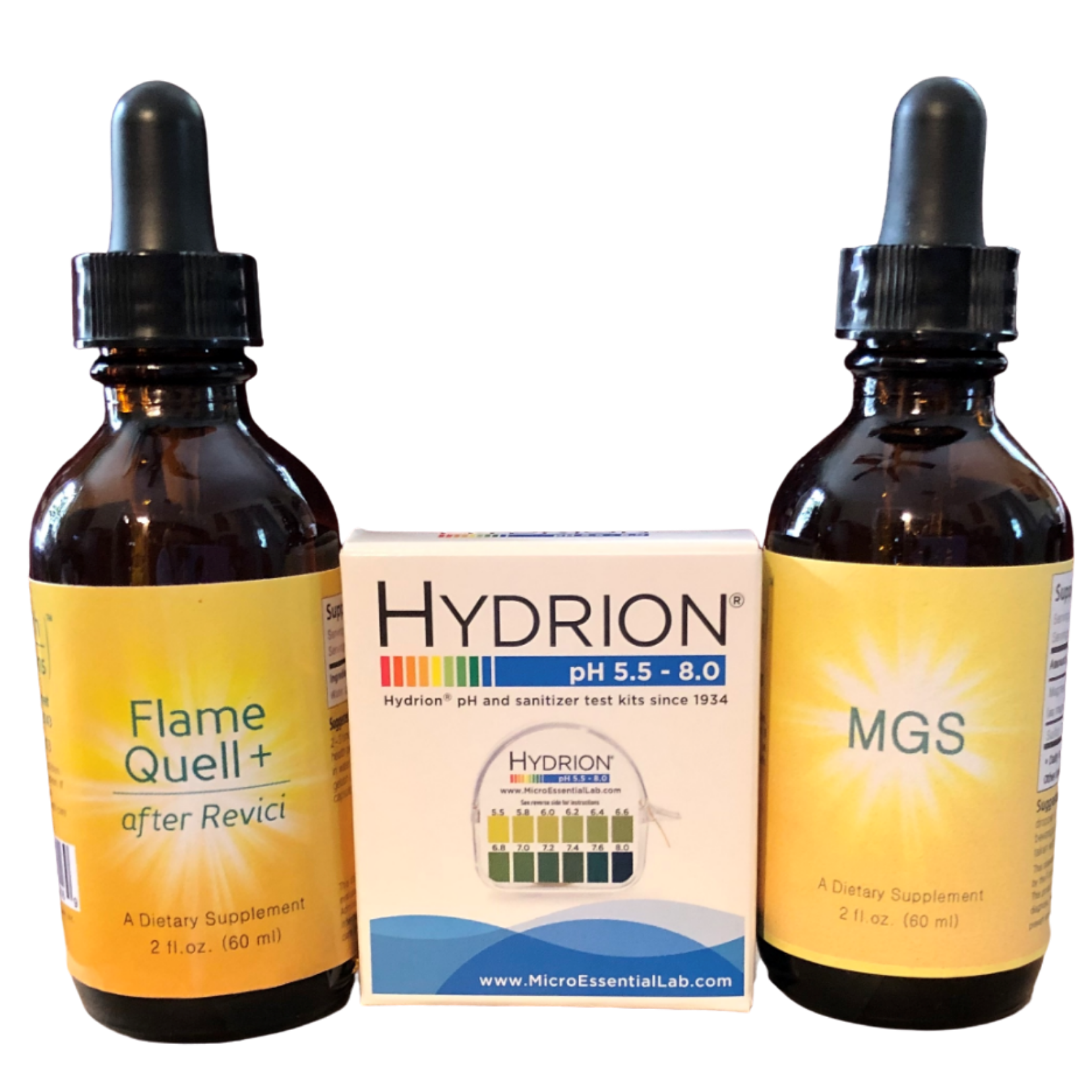 A bottle of Flame Quell+, next to a box of Hydrion pH papers, next to a bottle of MGS