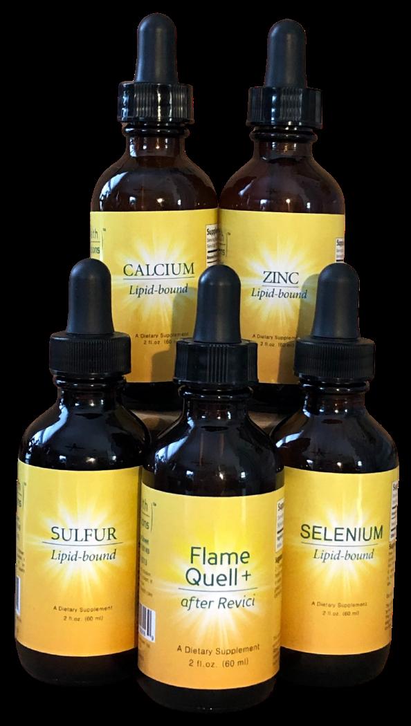 5 lipid bound mineral bottles including: Calcium, Zinc, Sulfur, Selenium and Flame Quell Plus