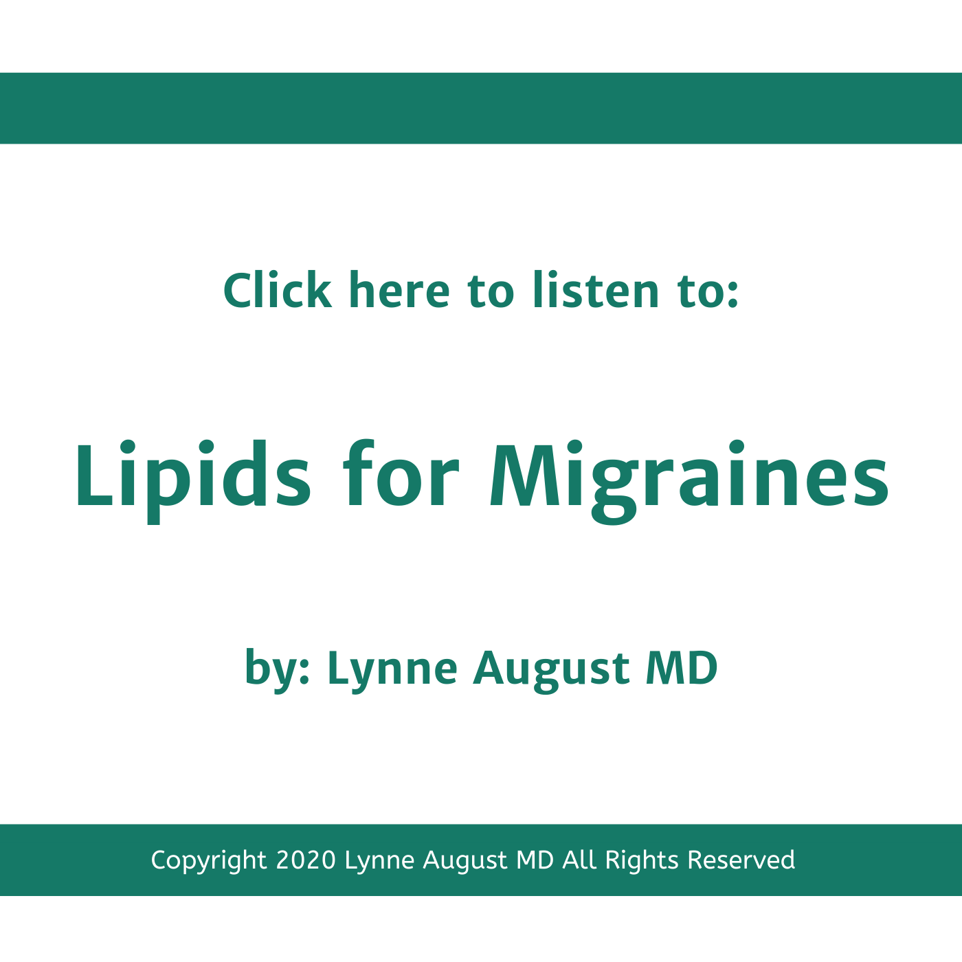 Podcast title image for Lipids for Migraines by Lynne August