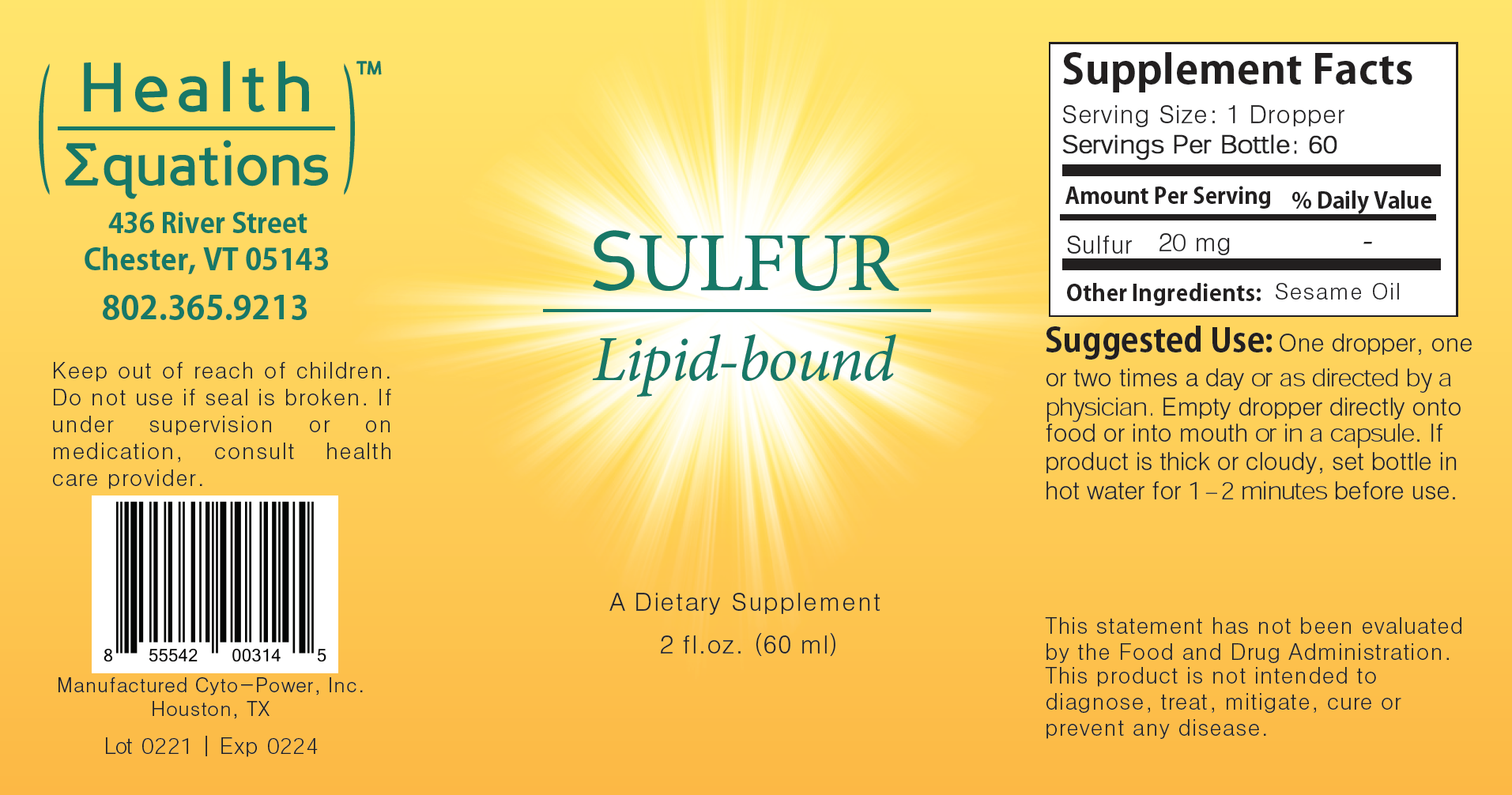 Lb Sulfur label by Health Equations