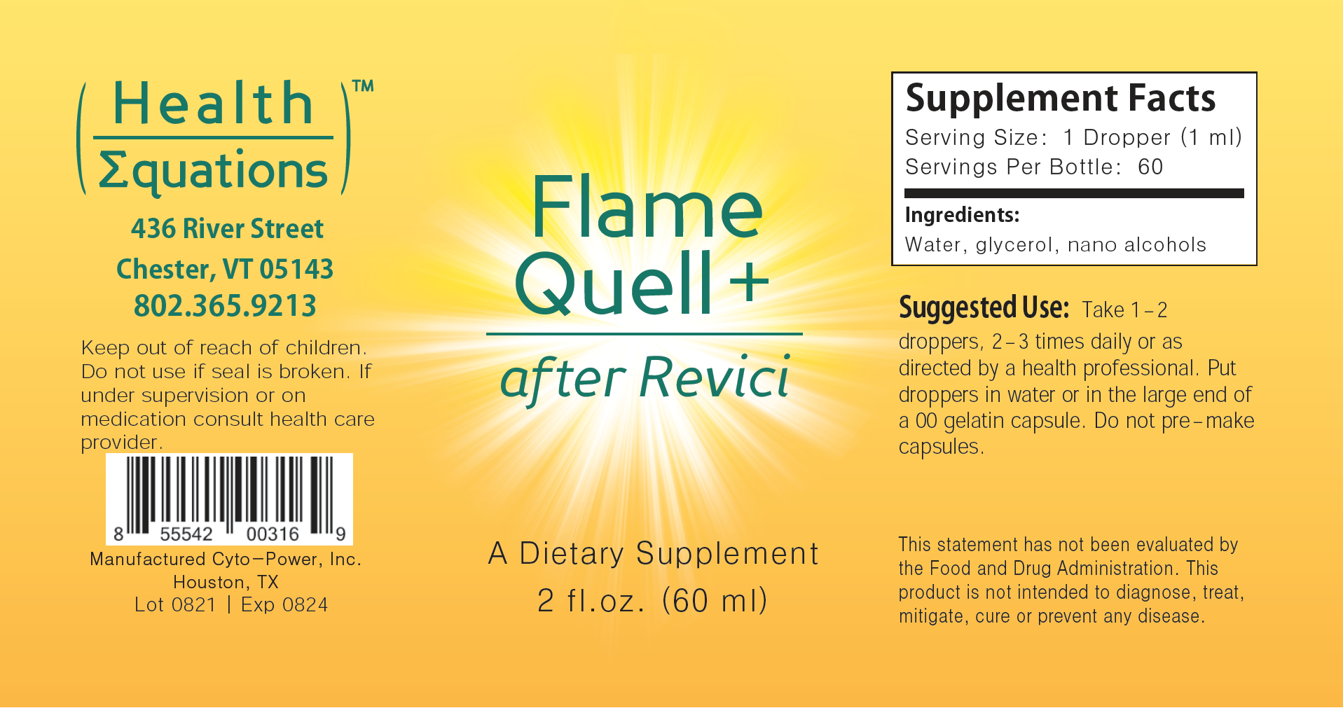 Flame Quell Plus label image by Health Equations