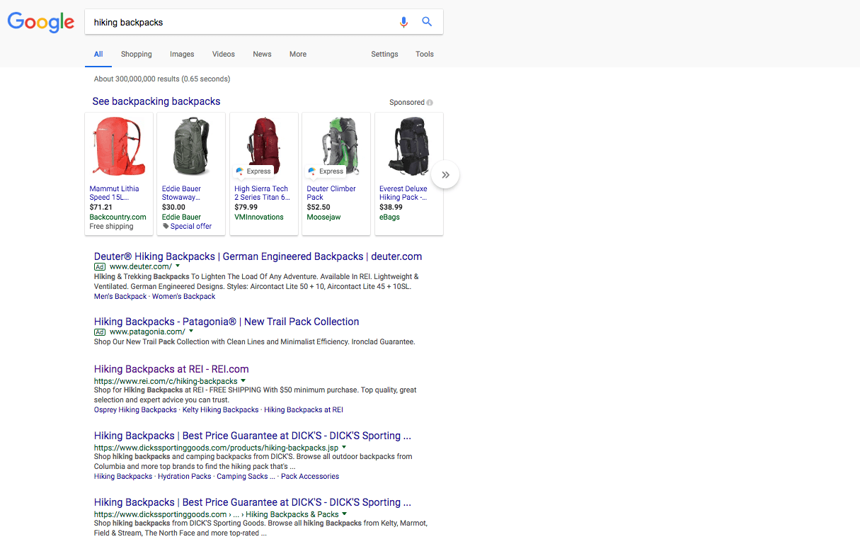 image of google page showing back packs