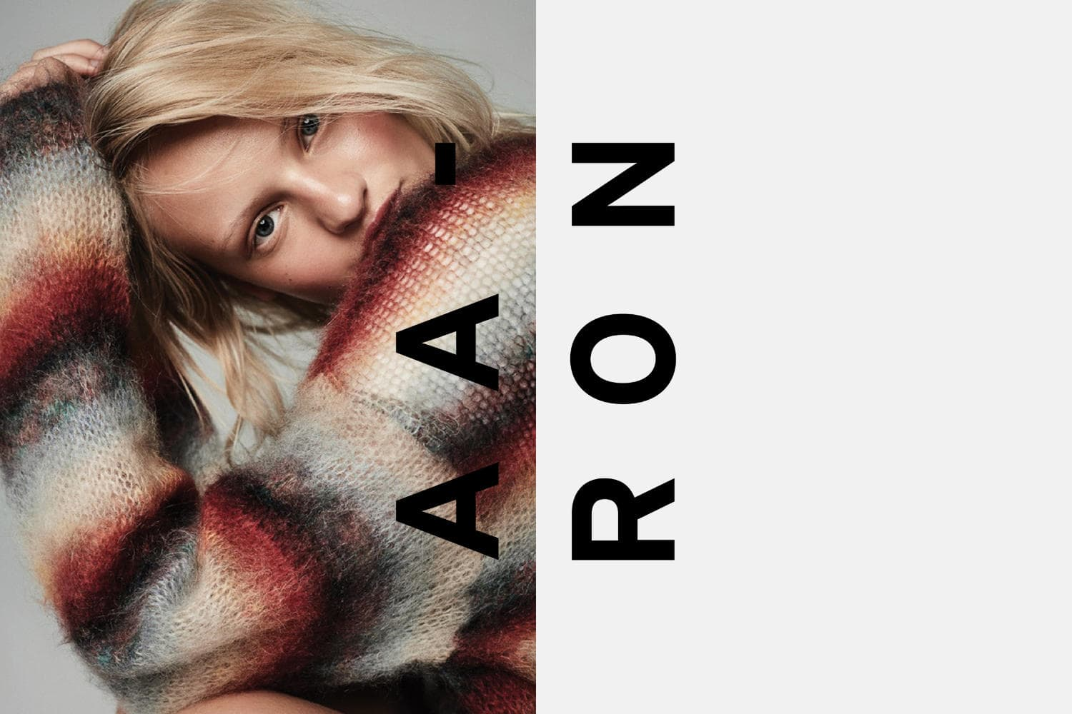 Aaron Smith Photography logo over a photo of a blonde woman wearing a chunky-knit sweater.