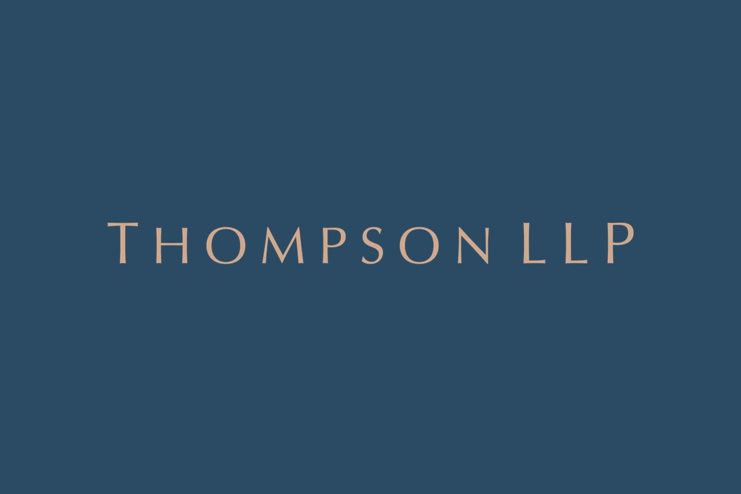 Thompson LLP logo over a navy background.