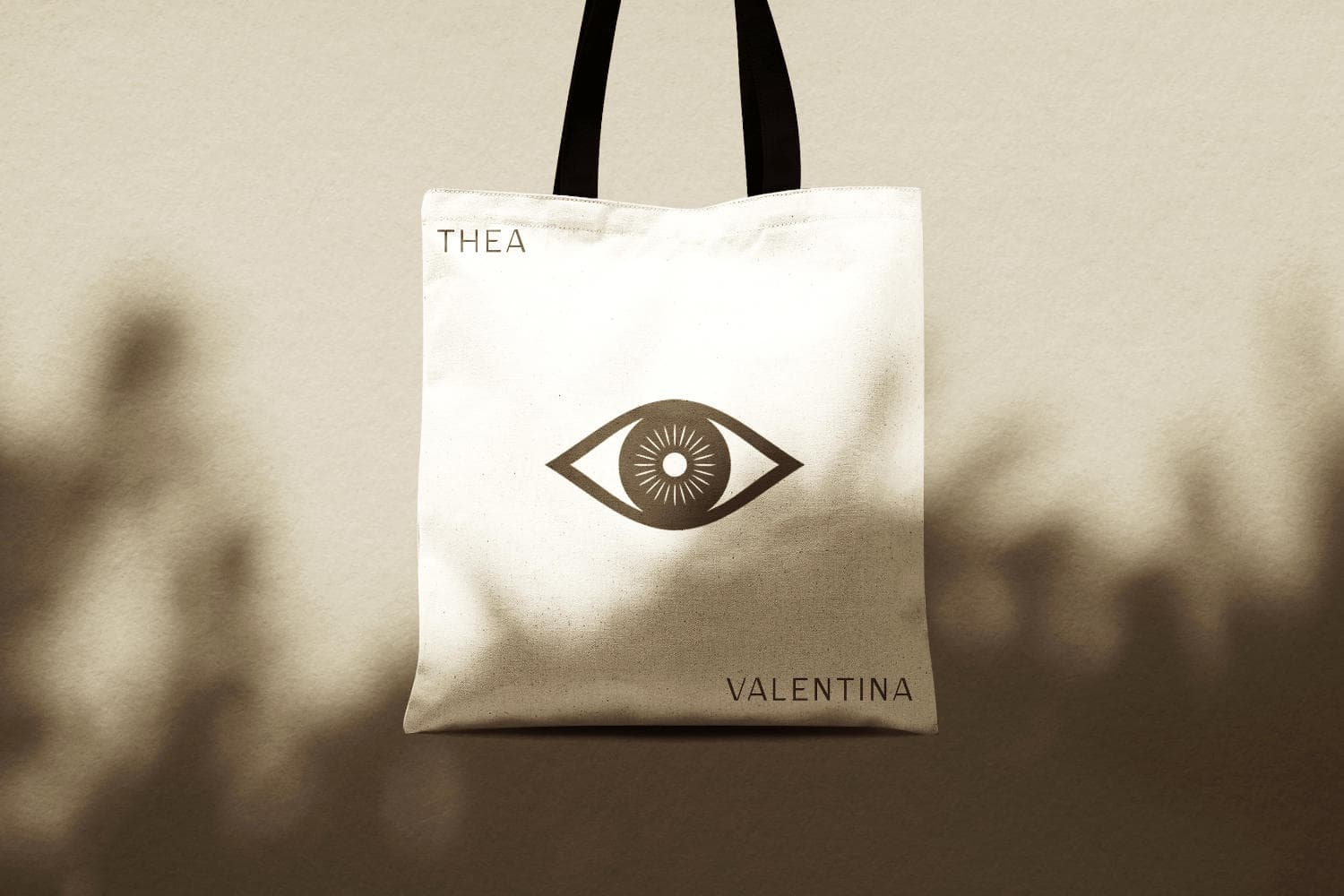 Tote bag with Thea Valentina logo.