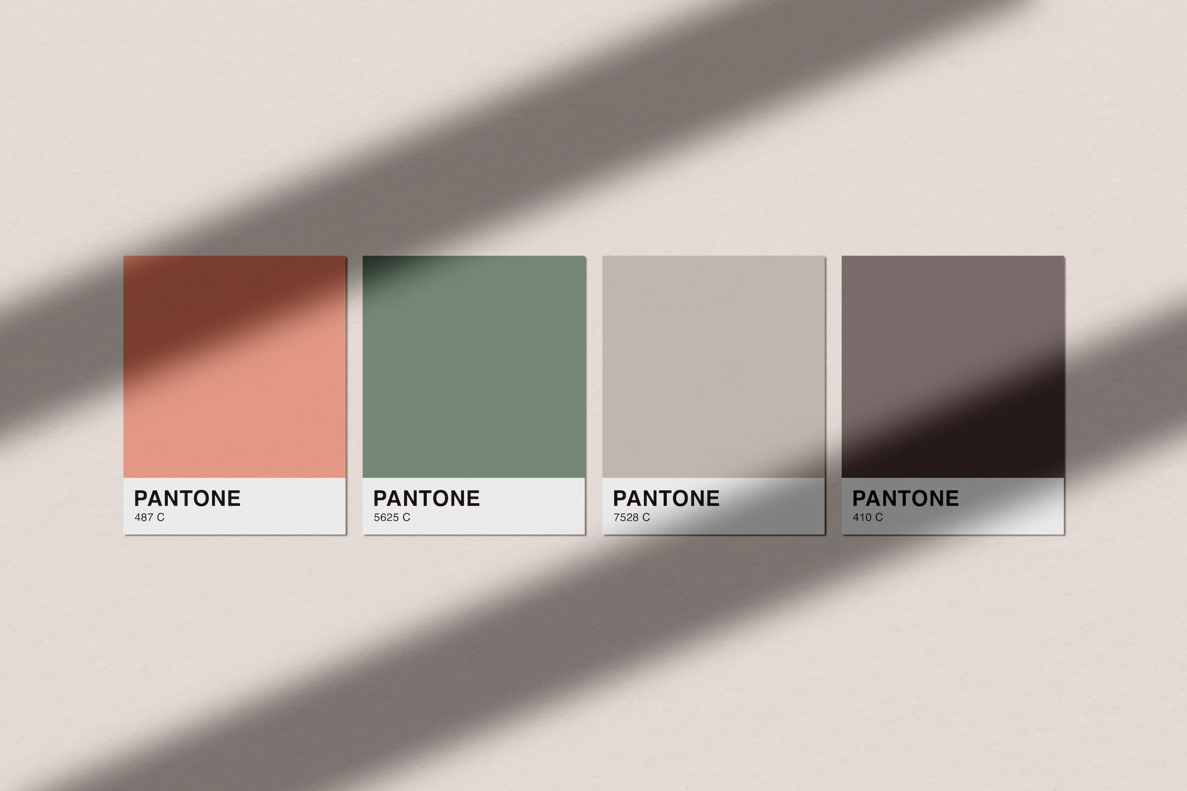 PANTONE color swatches for Peachtree, Pomme, Portico, and Parque.