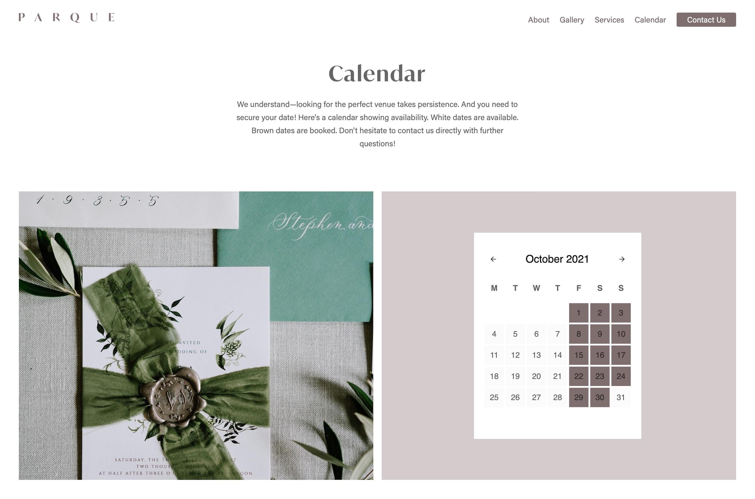 A screenshot of the Parque website Calendar page.
