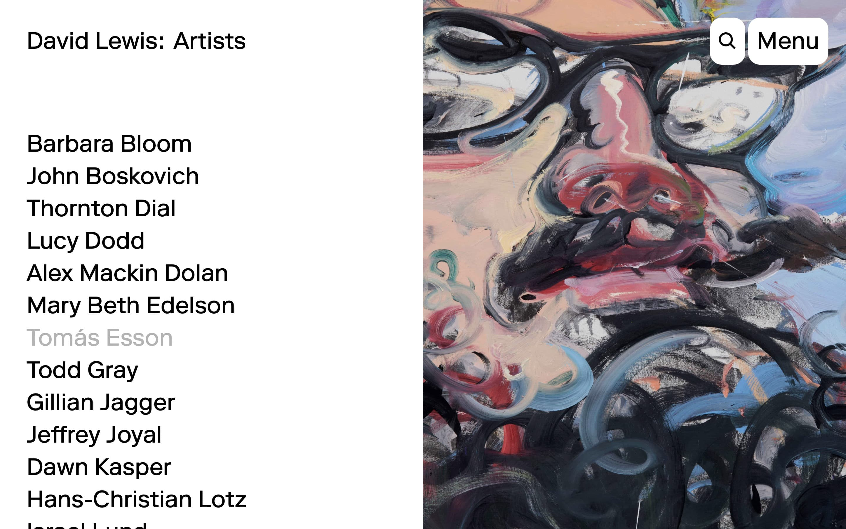 Artists page on the David Lewis Gallery website, designed by Lovably.