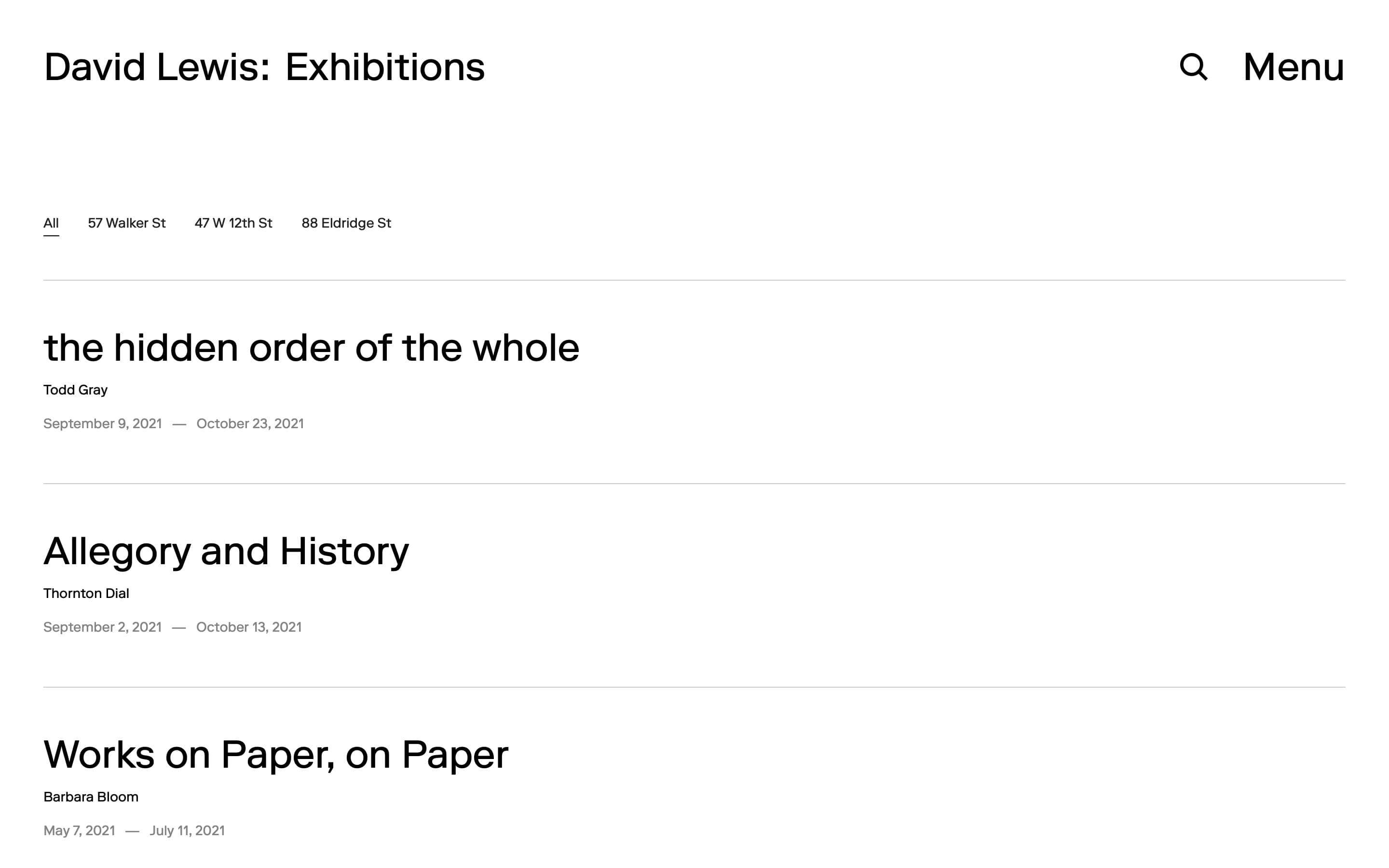 Exhibitions page on the David Lewis Gallery website, designed by Lovably.