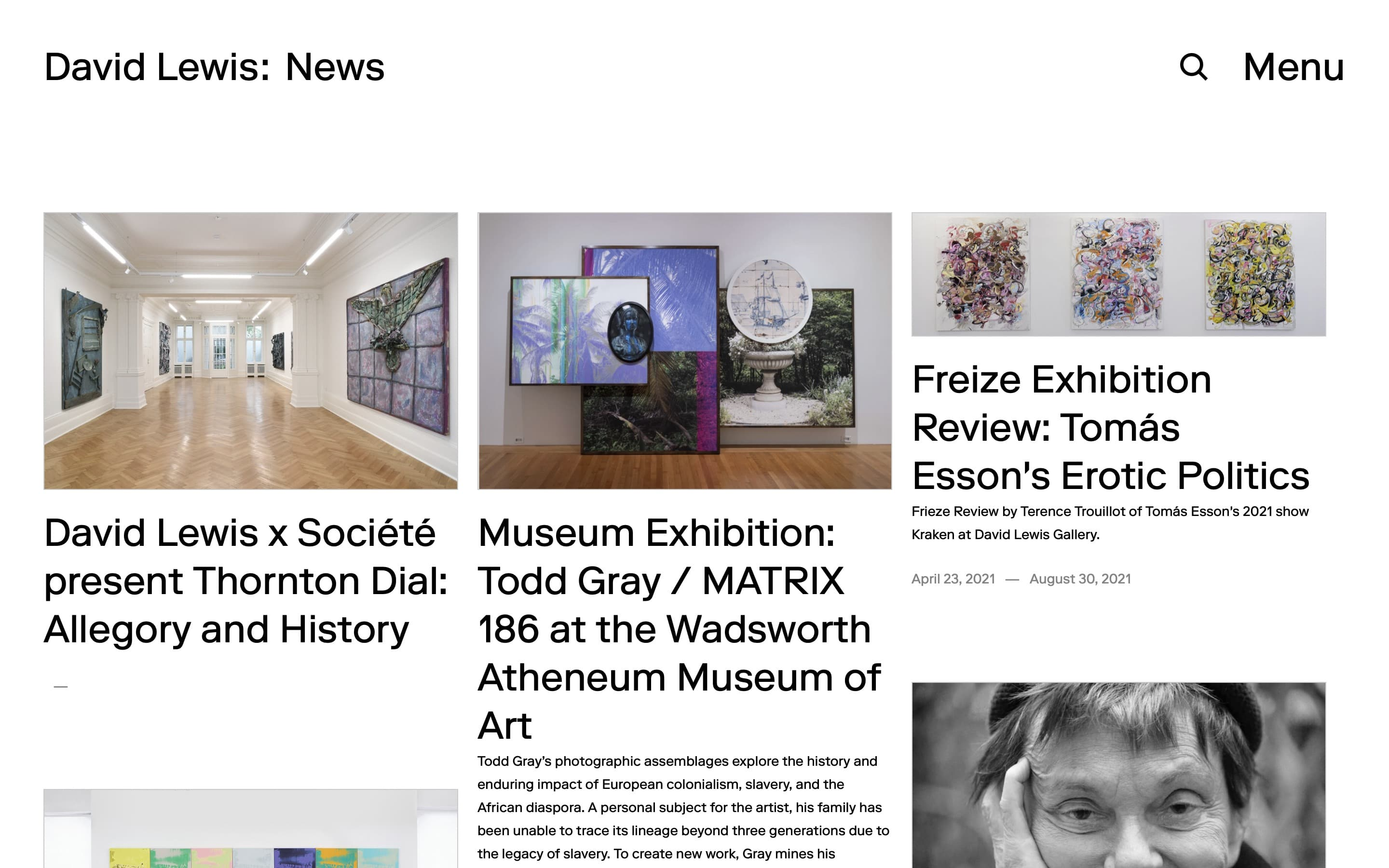 News page on the David Lewis Gallery website, designed by Lovably.