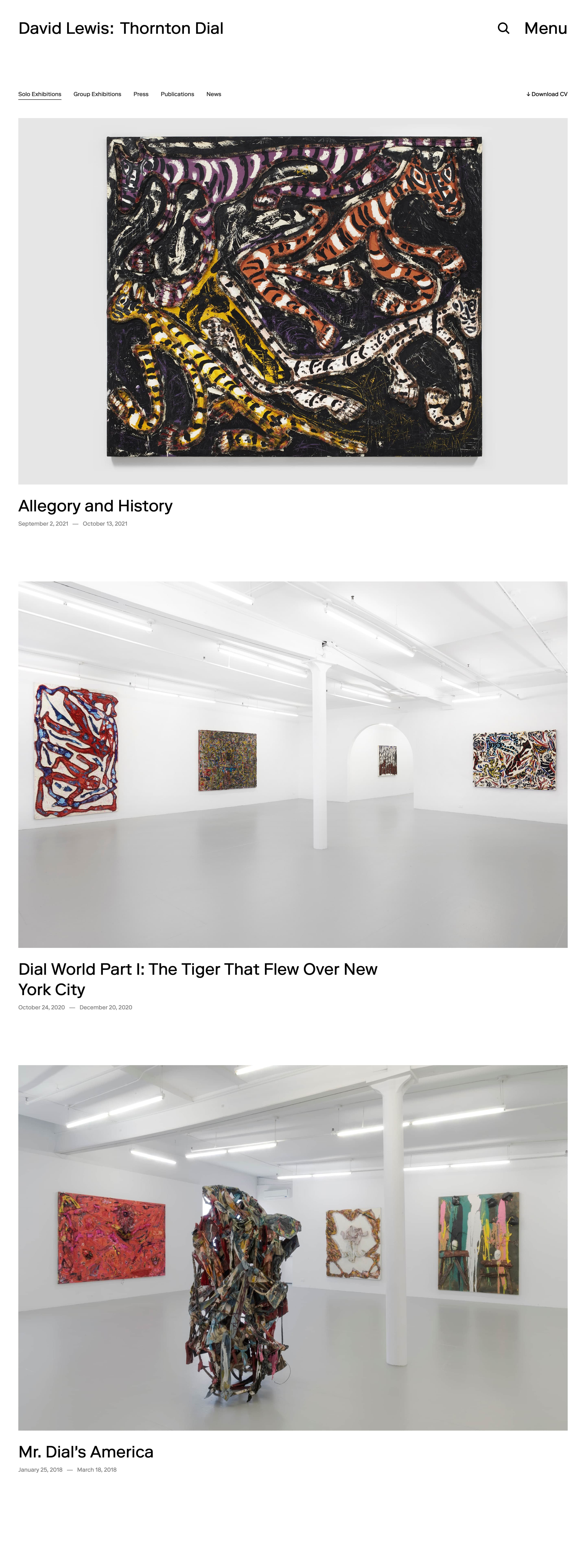 Artist page on the David Lewis Gallery website, designed by Lovably.