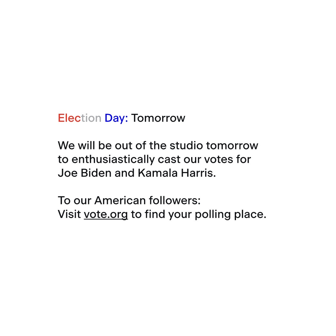 Election Day: Tomorrow