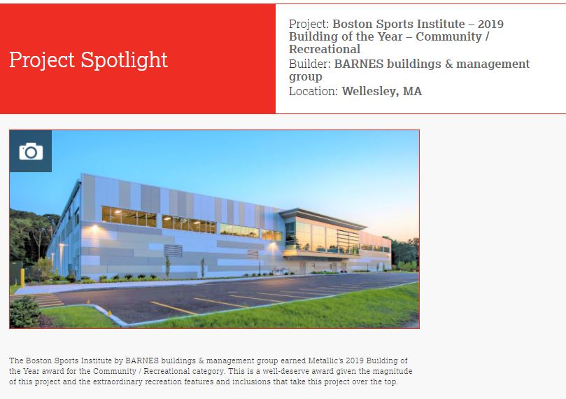 Boston Sports Institute Wins Building of the Year - Community / Recreational