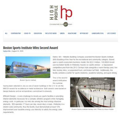 Boston Sports Institute Wins Second Award