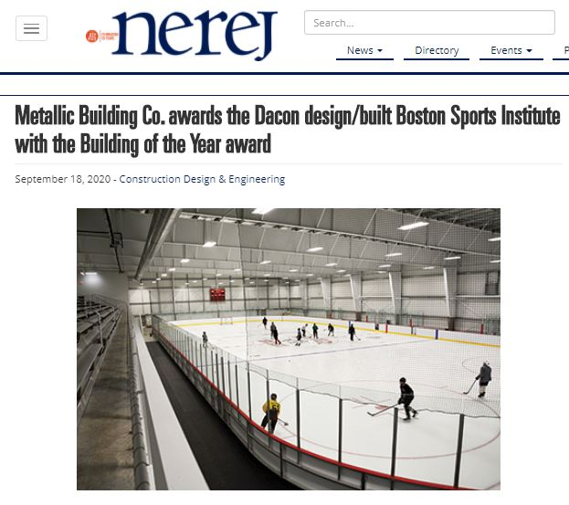 Metallic Building Company Awards Dacon's Boston Sports Institute with Building of the Year Award