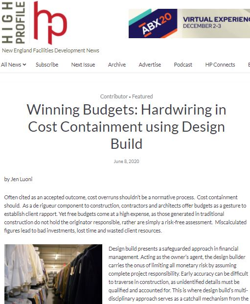 Winning Budgets: Hardwiring In Cost Containment Using Design Build